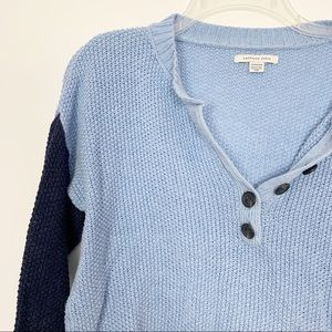 American Eagle Knit Sweater Henley Cropped Sweater